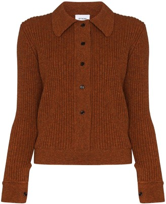 Eftychia Point-Collar Button-Up Cardigan