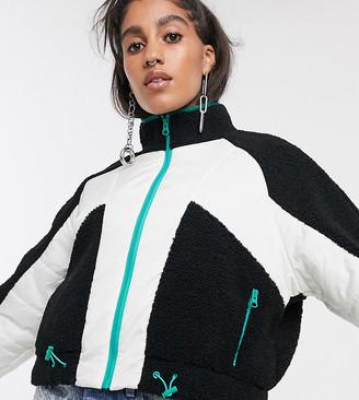 Reclaimed Vintage inspired borg mix bomber jacket