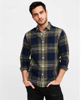 Express slim soft wash plaid button-down cotton shirt