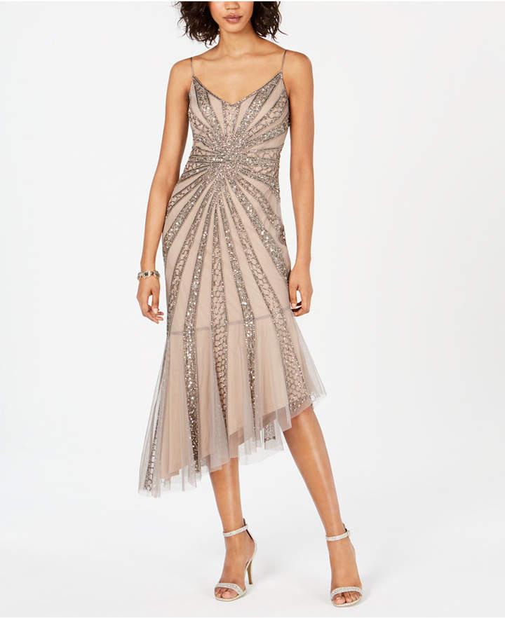 Petite Beaded Bias-Cut Dress