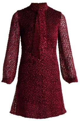 Saint Laurent Pussy-bow Velvet Devore Mini Dress - Womens - Burgundy
