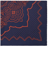 Barneys New York MEN'S PAISLEY-PRINT SILK TWILL POCKET SQUARE