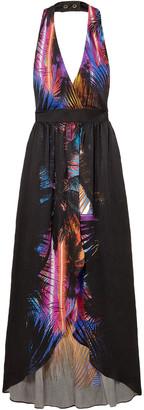 Balmain Pleated Printed Washed-silk Halterneck Maxi Dress