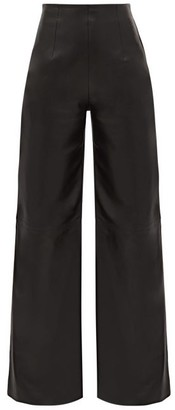 16Arlington Marvin Tailored Flared-leg Leather Suit Trousers - Black