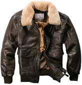Avirex fly jacket fur collar genuine leather jacket men brown sheepskin coat men winter bomber jacket men (L, )