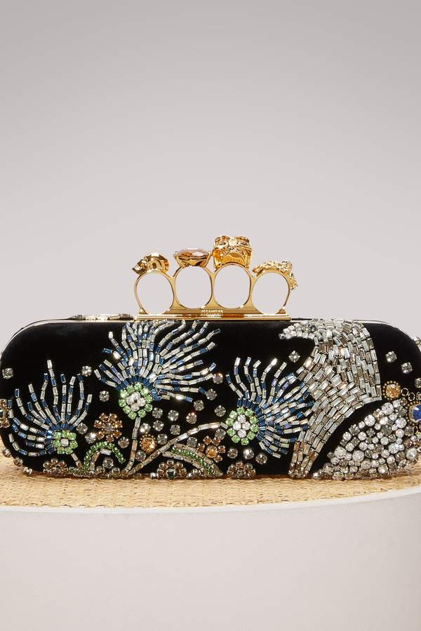 Alexander McQueen Silk Clutch with Jeweled Clasp