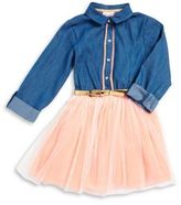 Little Lass Little Girl's Denim and Tulle Dress
