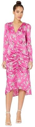 WAYF Rachel Ruched Midi Dress (Magenta Bouquet) Women's Dress