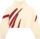 Vika Gazinskaya Oversized Cropped Boiled Wool Sweater - Cream