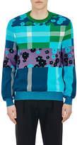Paul Smith MEN'S FLOWER & PLAID INTARSIA-KNIT COTTON SWEATER