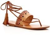 Soludos Embroidered Lace Up Flat Sandals