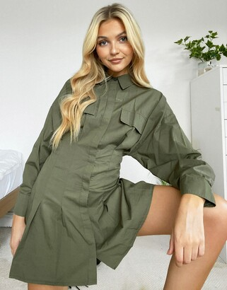 Bershka oversized shirt dress with pleats in khaki