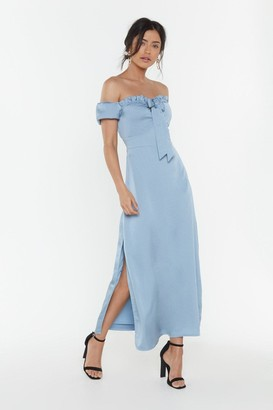 Nasty Gal Womens Don't Catch the Bouquet Off-the-Shoulder Maxi Dress - blue - 10