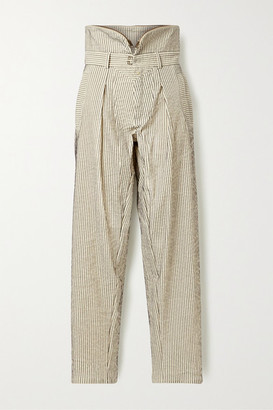 TRE by Natalie Ratabesi Pinstriped Cotton Tapered Pants - Ivory