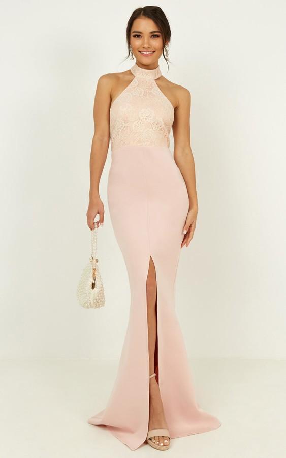 Showpo Today Was A Fairytale Dress in blush - 4 (XXS) Bridesmaid
