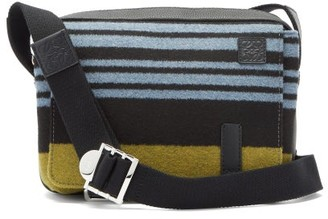 Loewe Striped Leather-trimmed Messenger Bag - Black Blue
