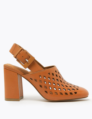 Marks and Spencer Leather High Front Slingback Shoes