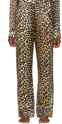 Ganni Black and Brown Silk Leopard Lounge Pants