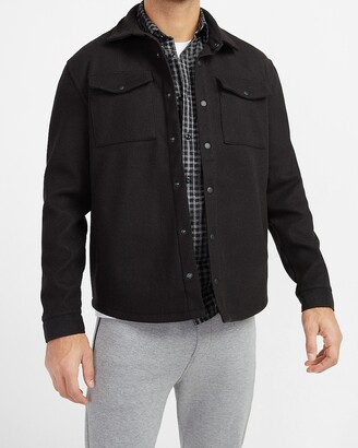 Express Solid Knit Shirt Jacket