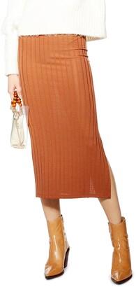 Topshop Ribbed Midi Skirt