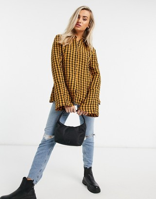 Emory Park oversized boyfriend shirt in yellow check