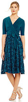 Alex Evenings Petite Tea-Length Rosette Skirt Party Dress