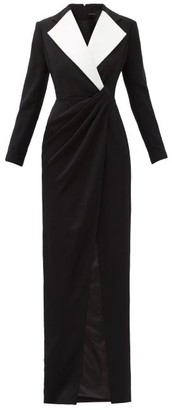 Rasario Longline Gathered-waist Crepe Dress - Black White