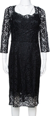 Dolce & Gabbana Black Floral Lace Sheath Dress L