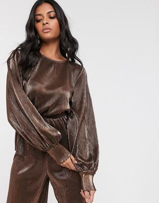 Vero Moda metallic plisse balloon sleeve top-Brown