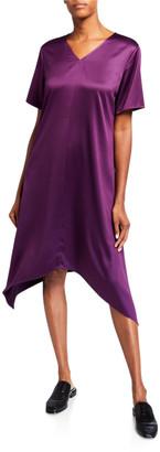 Eileen Fisher Satin V-Neck Short-Sleeve Asymmetric Hem Dress