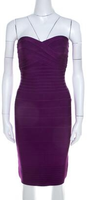 Herve Leger Purple Knit Strapless Signature Essential Dress XS