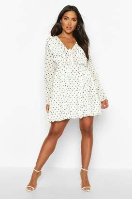 boohoo Polka Dot Ruffle Skater Dress