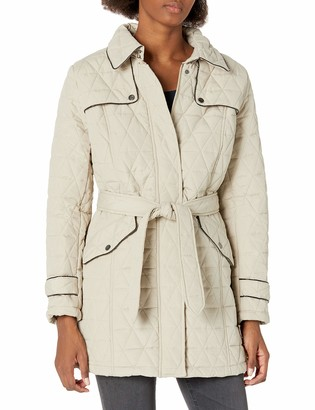 Big Chill Women's Quilted Microfiber Belted Trench Coat