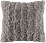 Madison Park Ruched Stripe Fur 25-Inch Square Throw Pillow