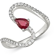 Bloomingdale's Ruby & Diamond Swirl Ring in 14K White Gold - 100% Exclusive