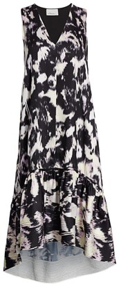 3.1 Phillip Lim Abstract Sleeveless Flounce Dress