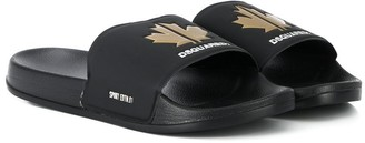 DSQUARED2 TEEN sports maple leaf slides