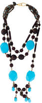 Erickson Beamon Multistrand Faceted Bead & Wood Necklace