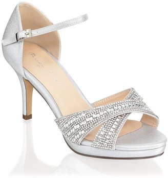 Linzi Paradox London Haven Silver Wide Fit Mid Heel Platform Ankle Strap Sandals