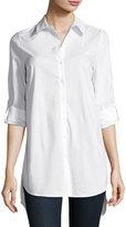 Marled by Reunited Tulip-Back Poplin Shirt, White