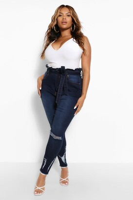 boohoo Plus High Waisted Belted Distressed Skinny Jean