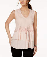 Style&Co. Style & Co Petite Lace Tiered Top, Created for Macy's