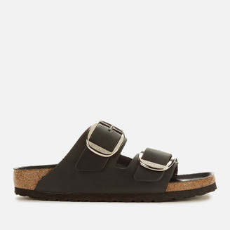 Birkenstock Women's Arizona Big Buckle Oiled Leather Double Strap Sandals - Black