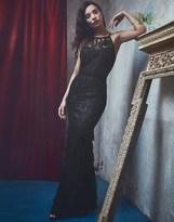 Lipsy Vip Lace Tiered Mesh Maxi Dress