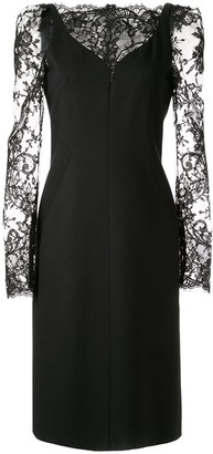 Alexander McQueen Lace Sleeve Dress