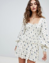 Free People Two Faces ruched waist mini dress