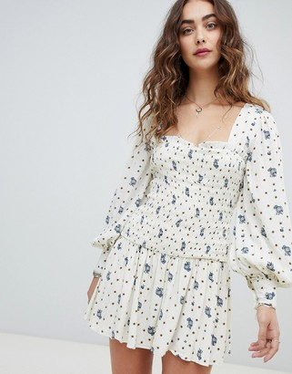 Free People Two Faces ruched waist mini dress-White
