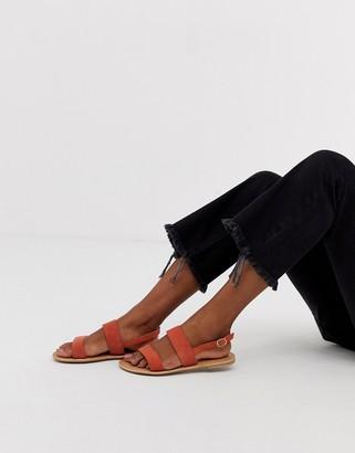 Park Lane leather flat sandal-Orange