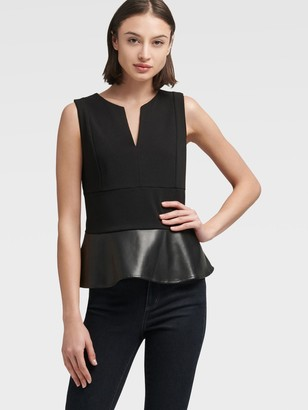 DKNY Faux Leather Peplum Top