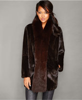 The Fur Vault Fox-Fur-Trim Mink Fur Coat